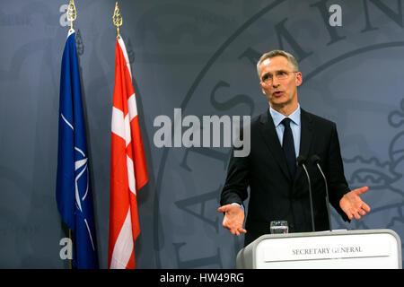 NATO Secretary General Jens Stoltenberg speaks at a press conference with Danish Prime Minister Lars Lokke Rasmussen - Stock Photo