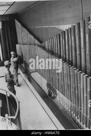 Apr. 25, 1966 - Pipe Organ made of Bamboos: The world's first bamboo pipe organ appeared recently at Sony building - Stock Photo