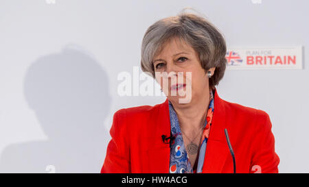 London, UK. 17th Mar, 2017. British Prime Minister Theresa May speaks at the Conservative Party's Spring Conference - Stock Photo