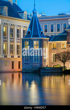 The Hague Netherlands Parliament buildings. Het Torentje - The Little Tower - office of the Dutch Prime Minister. - Stock Photo
