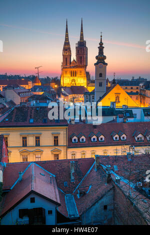 Zagreb. Cityscape image of Zagreb, Croatia during twilight blue hour. - Stock Photo