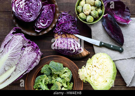 Many kinds of cabbage - red, broccoli, Brussels sprouts, white, napa cabbage. Ingredients for the preparation of - Stock Photo