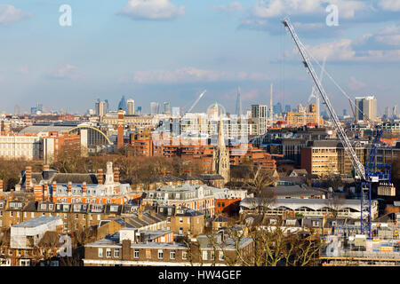 Exterior view of the construction site at 10 Hammersmith Grove, a new office development in London, UK. - Stock Photo