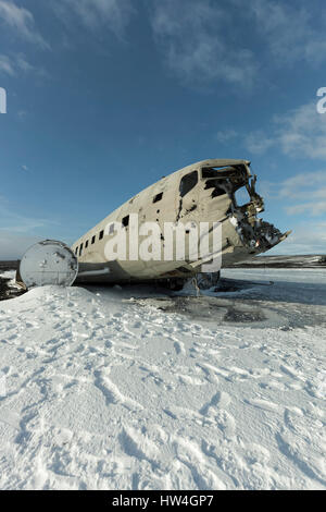 US Navy DC plane crash at Sólheimasandur Black Sand Beach, Iceland. - Stock Photo