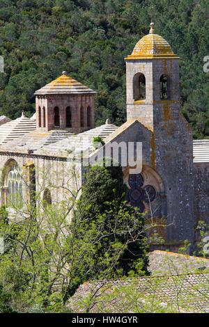Fontfroide Abbey, Languedoc-Roussilon, France. - Stock Photo