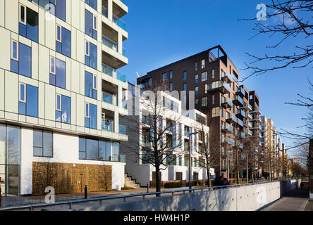 Exterior view of a building of the Greenwich Peninsular development and regeneration program, London, UK. - Stock Photo