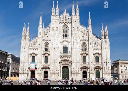 Milan Cathedral, Lombardy, Italy. General view of west facade from Piazza del Duomo. - Stock Photo
