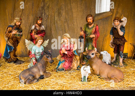 Christmas, Nativity scene, Religion. Budapest Hungary, Southeast Europe - Stock Photo