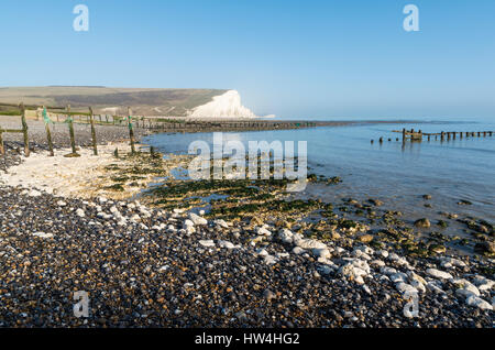 View of Seven Sisters Country Park cliffs taken from Seaford Head beach, East Sussex, UK - Stock Photo