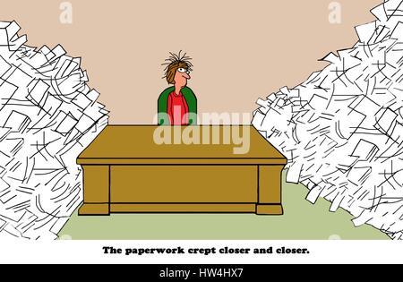 Business cartoon about paperwork creeping towards a desk. - Stock Photo