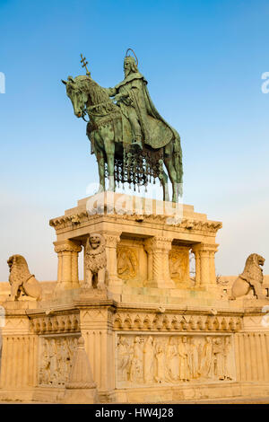 Statue of King Istvan Stephan, Fisherman's Bastion. Buda Castle Hill District. Budapest Hungary, Southeast Europe - Stock Photo