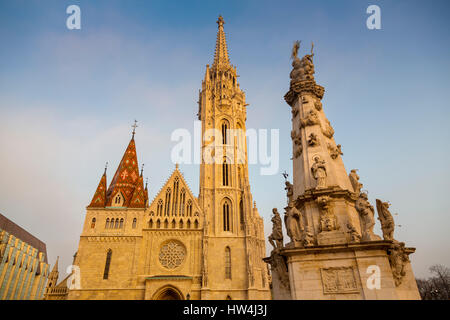 Matthias Church The coronation church of the Hungarian kings, with its Gothic spire towering. Fisherman's Bastion. - Stock Photo