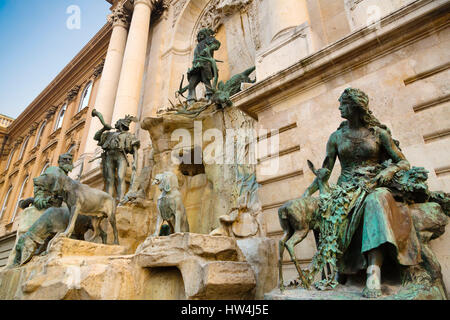 Matthias fountain at the Royal Palace. Buda Castle Hill District. Budapest Hungary, Southeast Europe - Stock Photo
