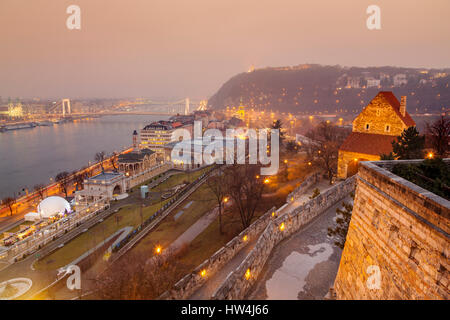 Danube River seen from Castle Hill district. Budapest Hungary, Southeast Europe - Stock Photo