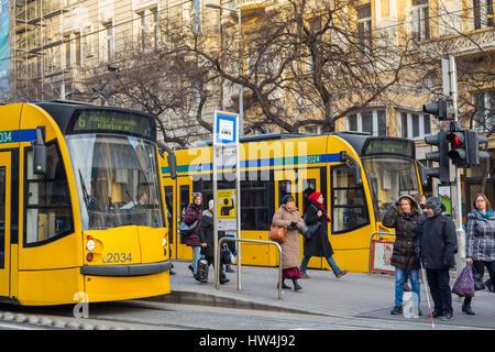 Tram. Street life. Budapest Hungary, Southeast Europe - Stock Photo