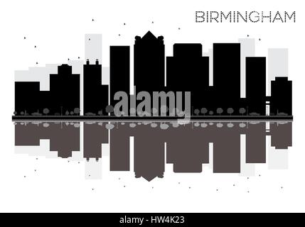 Birmingham City skyline black and white silhouette with reflections. Vector illustration. Simple flat concept for - Stock Photo