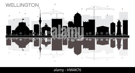 Wellington City skyline black and white silhouette with reflections. Vector illustration. Simple flat concept for - Stock Photo