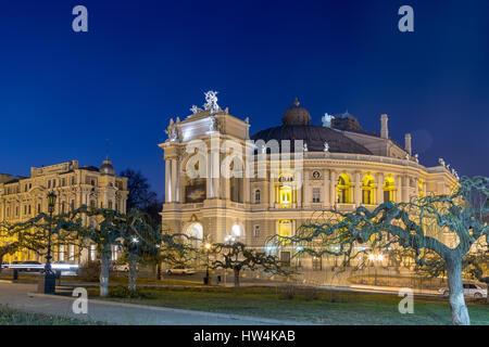 Odessa Opera and Ballet Theater in the heart of Odessa, Ukraine at night - Stock Photo