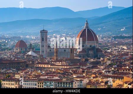 Florence cathedral, view of the Duomo with its Brunelleschi designed dome sited in the center of the city of Florence - Stock Photo