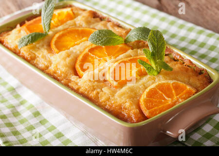 Traditional Greek Yogurt Cake with Orange Syrup Portokalopita close-up on the table. horizontal - Stock Photo