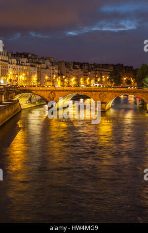 Night panorama of river Seine in Paris, France. - Stock Photo
