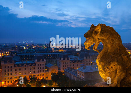 PARIS - JULY 15,2014: Gargoyle on the roof of Notre Dame, Paris Cathedral. Night view from the roof top of Notre - Stock Photo