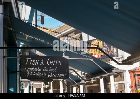 Traditional fish and chips sign. Youngs, Marquess of anglesey, Russell street, West End, London, UK - Stock Photo