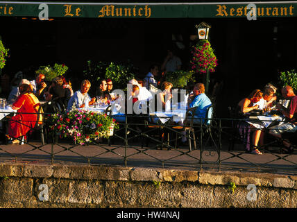 Pavement cafe, Annecy, Haute Savoie, Rhone Alps, France - Stock Photo