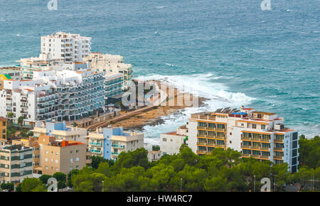 View from the hills in St Antoni de Portmany & surrounding area in Ibiza.  Hotels along the beach, places to stay. - Stock Photo