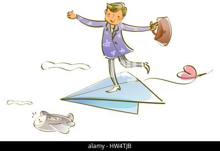 airplane,air vehicle,arm outstretched,bag,blond hair,businessman,business,carrying,clipart,cloud,color,colour,color - Stock Photo