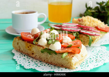 A few sandwiches, a cup of coffee (espresso), fresh. Breakfast. - Stock Photo