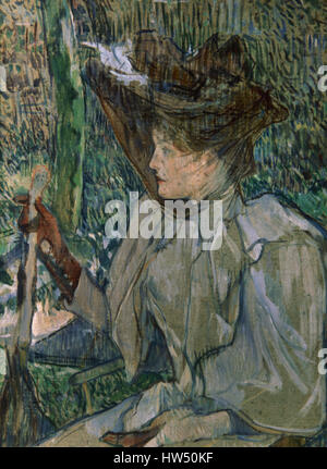 Henri de Toulouse-Lautrec (1864-1901). French painter. Post-Impressionism. Woman with gloves, 1891. Oil on cardboard. - Stock Photo