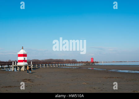 The red lighthouse in Lignano Sabbiadoro Stock Photo