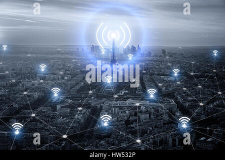 Paris smart city scape and network connection concept, wireless signal of internet in business city. internet connection. - Stock Photo