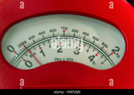 Dial on a set of weighing scales - Stock Photo