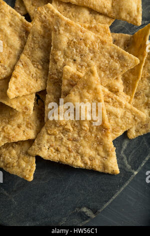 Healthy Gluten Free Rice Chips in a Pile - Stock Photo