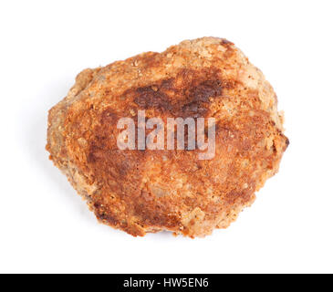 Small hand made cutlet isolated over white - Stock Photo