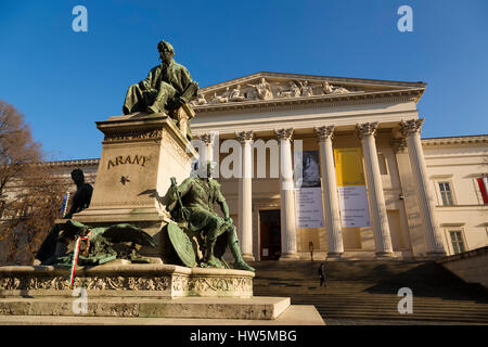 Monument to Poet Janos Arany and National Museum. Budapest Hungary, Southeast Europe - Stock Photo