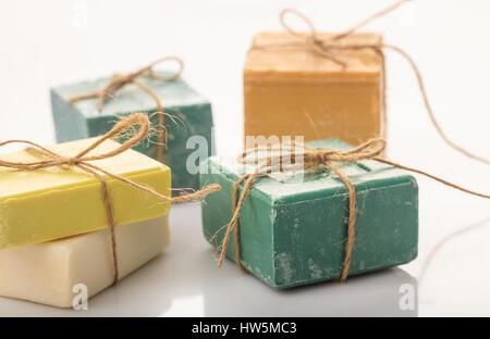 Natural handmade soap bars on white background - Stock Photo