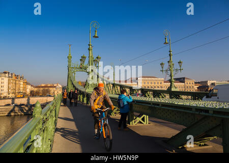 Liberty or Freedom bridge across the Danube River. Budapest Hungary, Southeast Europe - Stock Photo