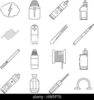 E-cigarettes tools icons set, outline style - Stock Photo