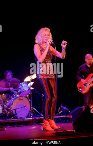 Zoe Schwarz Blue Commotion performing at The Regent Centre, Christchurch, Dorset, England - Stock Photo