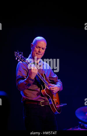 Rob Koral of Zoe Schwarz Blue Commotion performing at The Regent Centre, Christchurch, Dorset, England - Stock Photo