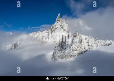 Dent du Géant (Dente del Gigante) from Pointe Hellbronner, Mont Blanc, Italy - Stock Photo