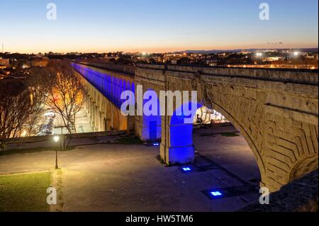 France, Herault, Montpellier, Saint Clement Aqueduct, lighting by the artist Yann Kersale - Stock Photo