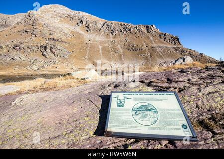 France, Alpes Maritimes, national park of Mercantour, Roya and Bevera, bulletin board of the valley of the Merveilles - Stock Photo