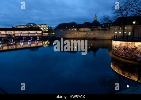 France, Bas Rhin, Strasbourg, old town listed as World Heritage by UNESCO, Vauban dam on the river Ill, former Commanderie - Stock Photo