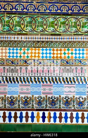 Spain, Andalusia, Seville, Isla de la Cartuja, tiles of the monastery of La Cartuja - Stock Photo