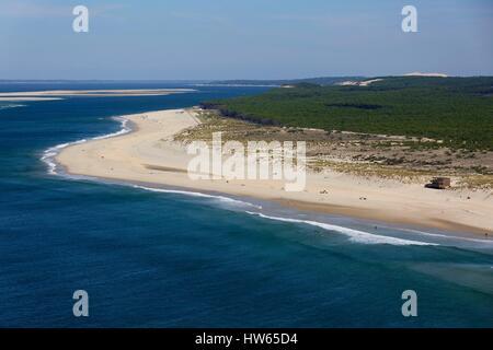 France, Gironde, Bassin d'Arcachon, La Teste, La Salie beach (aerial view) - Stock Photo