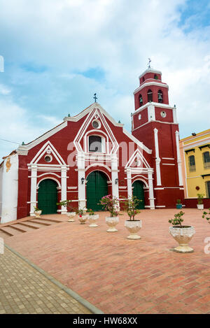 Vertical view of San Francisco church in historic Mompox, Colombia - Stock Photo